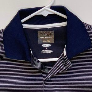 Greg Norman Mens Golf Polo Striped Blue Small